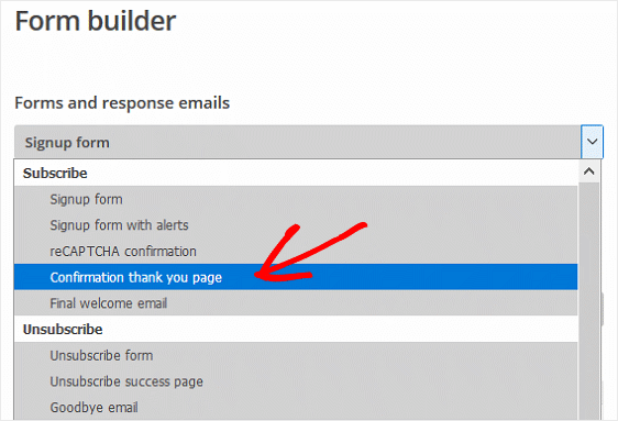 MailChimp Form Builder Thank You Page