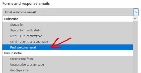 MailChimp Form Builder Welcome Email