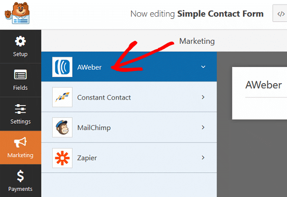 Marketing Tab - Connect AWeber to Contact Form