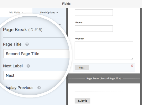Page Break field options in WPForms