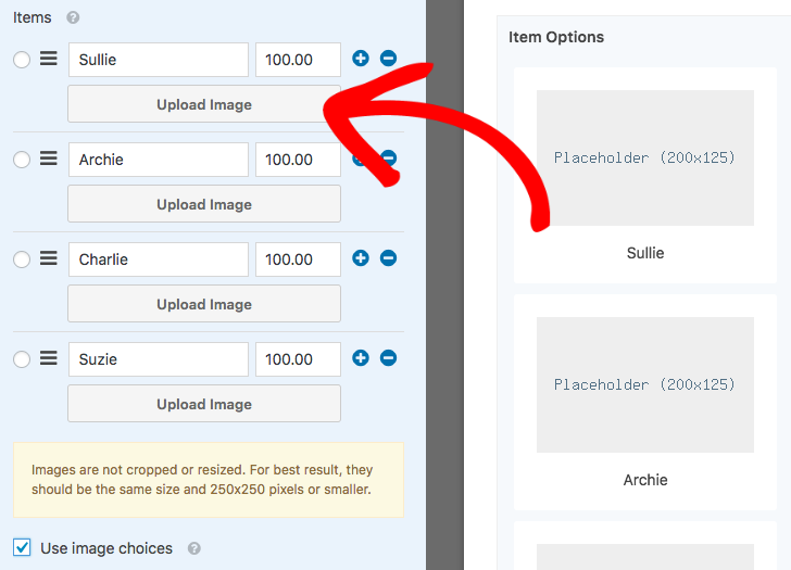 Upload an image for each option in the field