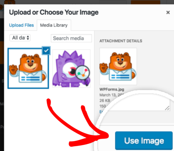 Upload or choose image in WordPress Media Library