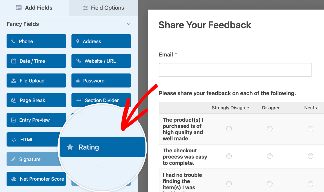 Adding a Rating field to a form
