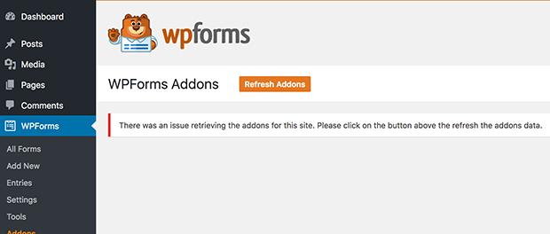 Addons List Access Error