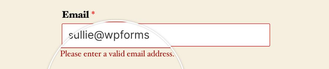 A field format validation message
