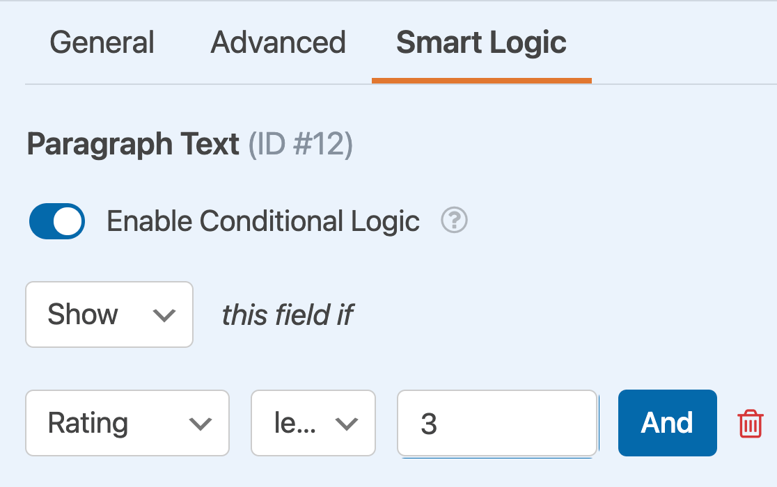 A conditional logic rule based on a Rating field