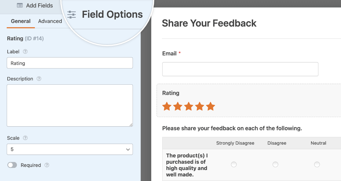Opening the Field Options panel for a Rating field