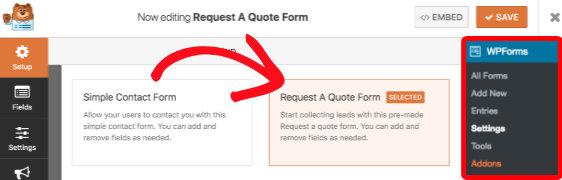 Request A Quote Form template