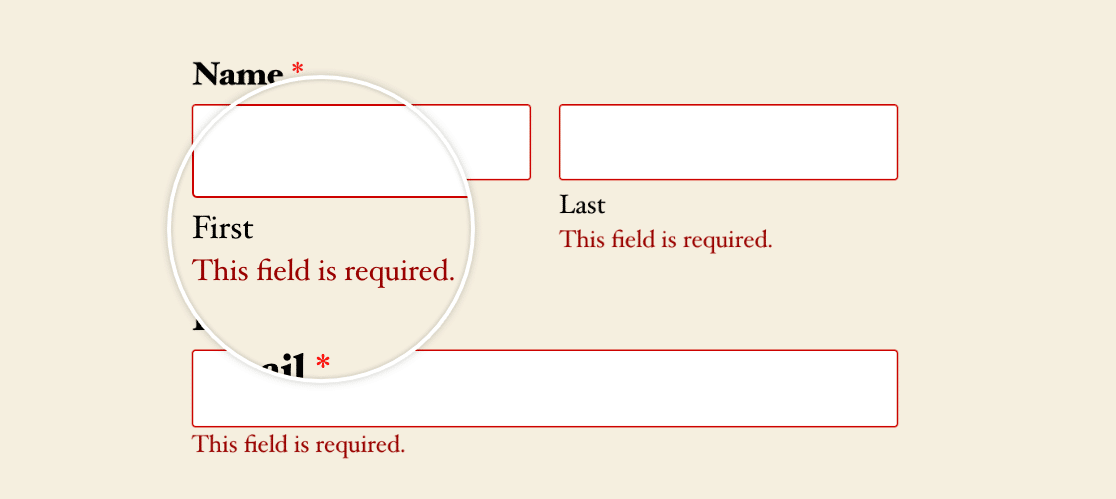 A required field validation message