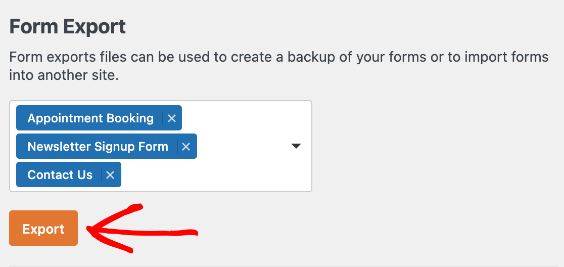 Exporting forms in WPForms