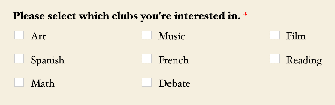 A 3-column choice layout for a Checkboxes field