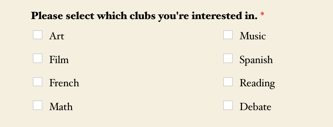 A 2-column choice layout for a Checkboxes field
