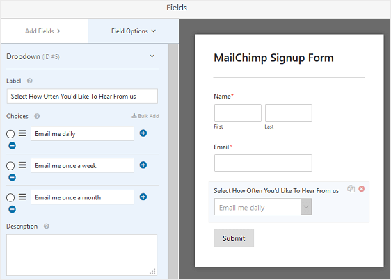 Edit MailChimp Signup Form