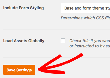 Save setting changes