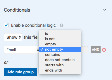 Set up first conditional logic rule