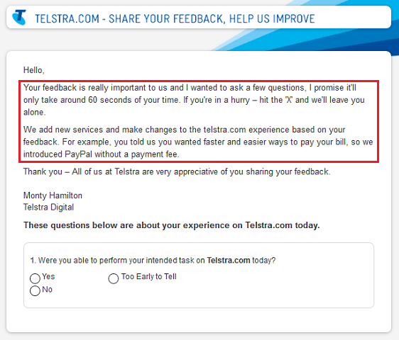 Telstra Survey Example