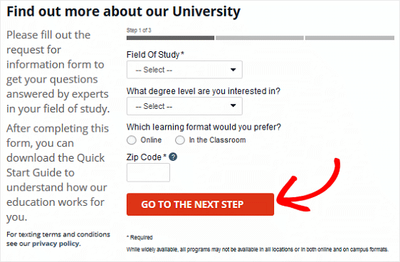 University of Phoenix Multi-page Form Example
