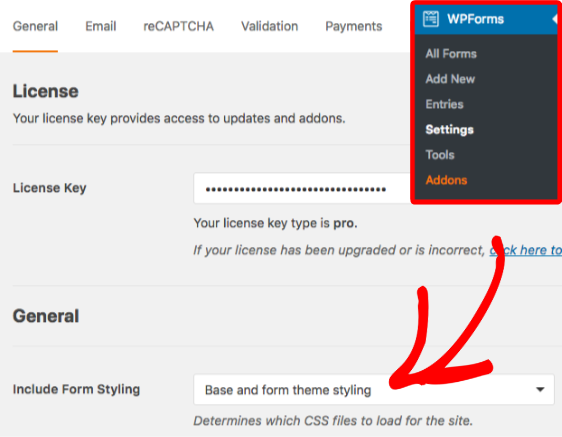 WPForms Include Form Styling setting