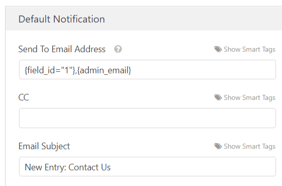 default form notification settings in wpforms