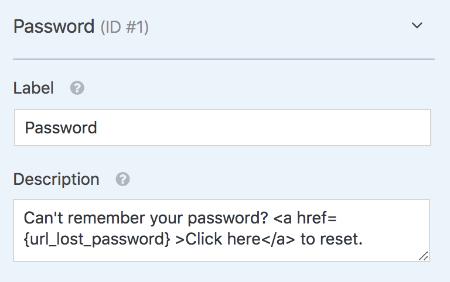 URL lost password Smart Tag