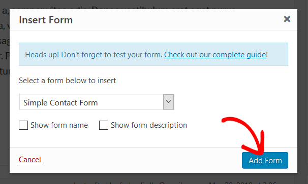 Add Form Dropdown Menu