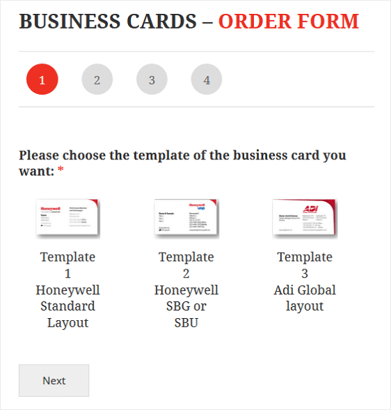 Business Card Order Form Example Using WPForms