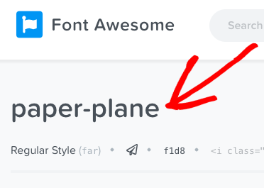copy name of font awesome icon