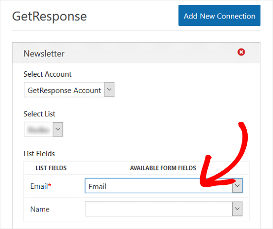 GetResponse Form Field Options