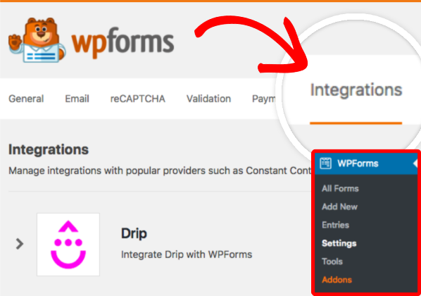 Integrations tab of WPForms Settings page
