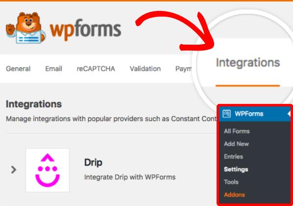 Integrations tab of WPForms Settings page