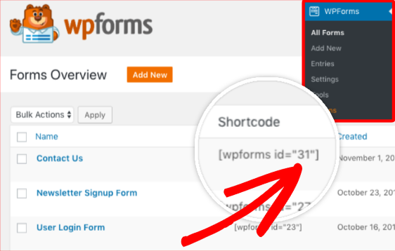 Locate form ID for WPForms