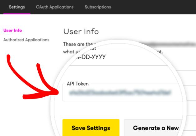 Locate your Drip API token