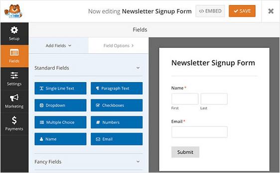 WPFormsのニュースレターに登録フォームテンプレート