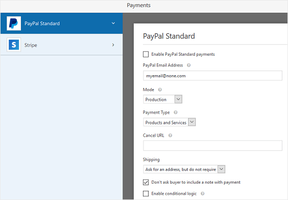 paypal settings for wordpress event registration