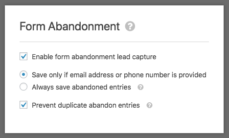 WPForms Form Abandonment addon settings