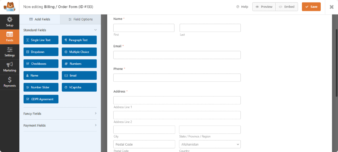 WPForms form builder dashboard