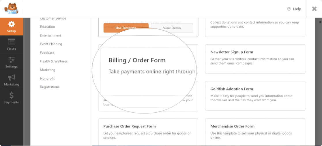 WPForms billing and order form template
