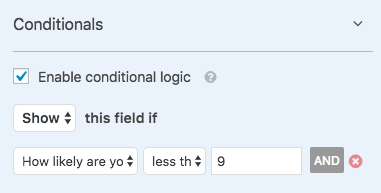 Conditional logic based on NPS field in WPForms