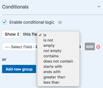 Conditional logic options in WPForms