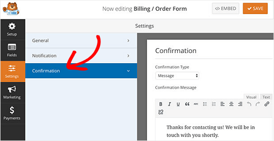 Confirmation Message to add terms and conditions to wordpress