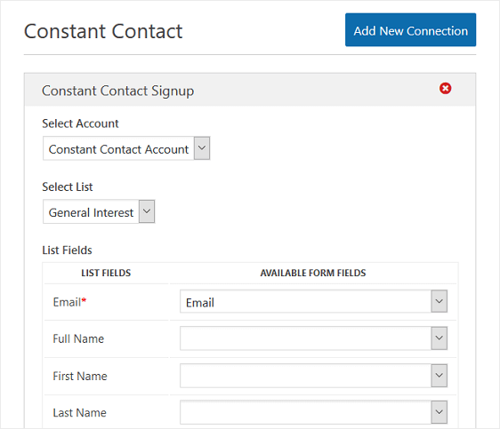 Constant Contact Connection Configuration