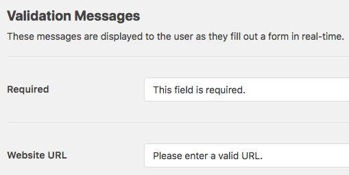 Customize validation messages in WPForms