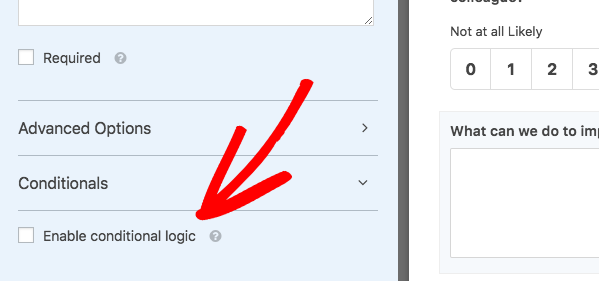 Enable conditional logic for NPS field in WPForms