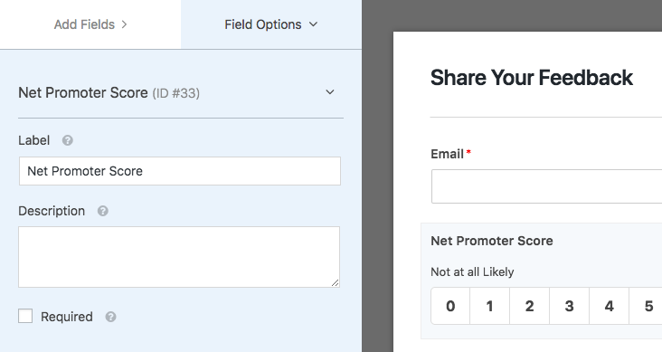 Field Options for Net Promoter field