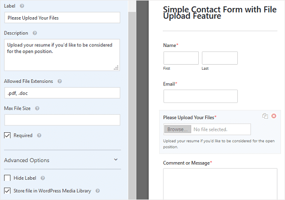 File Upload Form Field Customizations