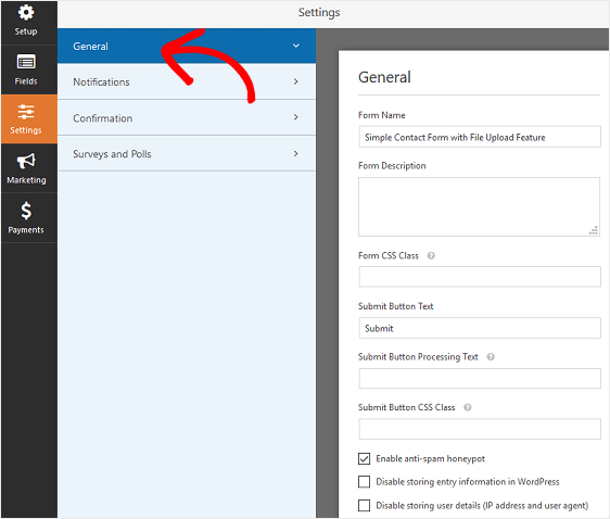 File Upload Form General Settings