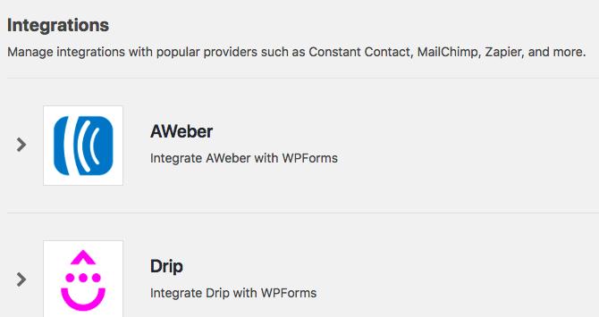 Integrations settings tab in WPForms