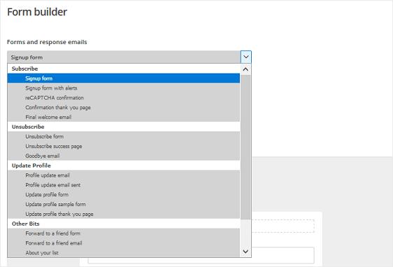MailChimp - Choose Form Type