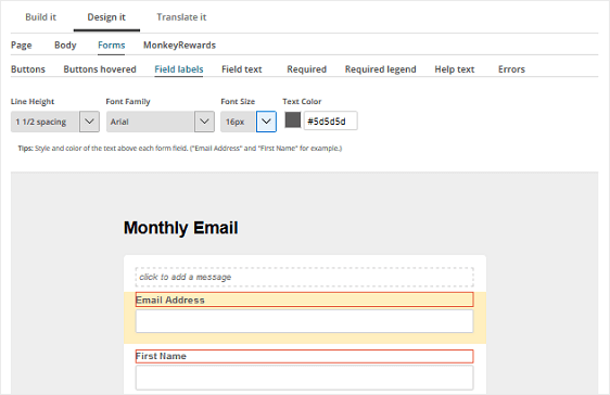 MailChimp Form Builder Customization