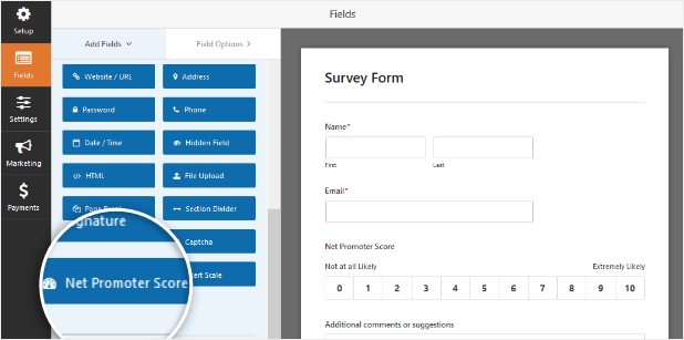 Net Promoter Score (NPS) Form Field